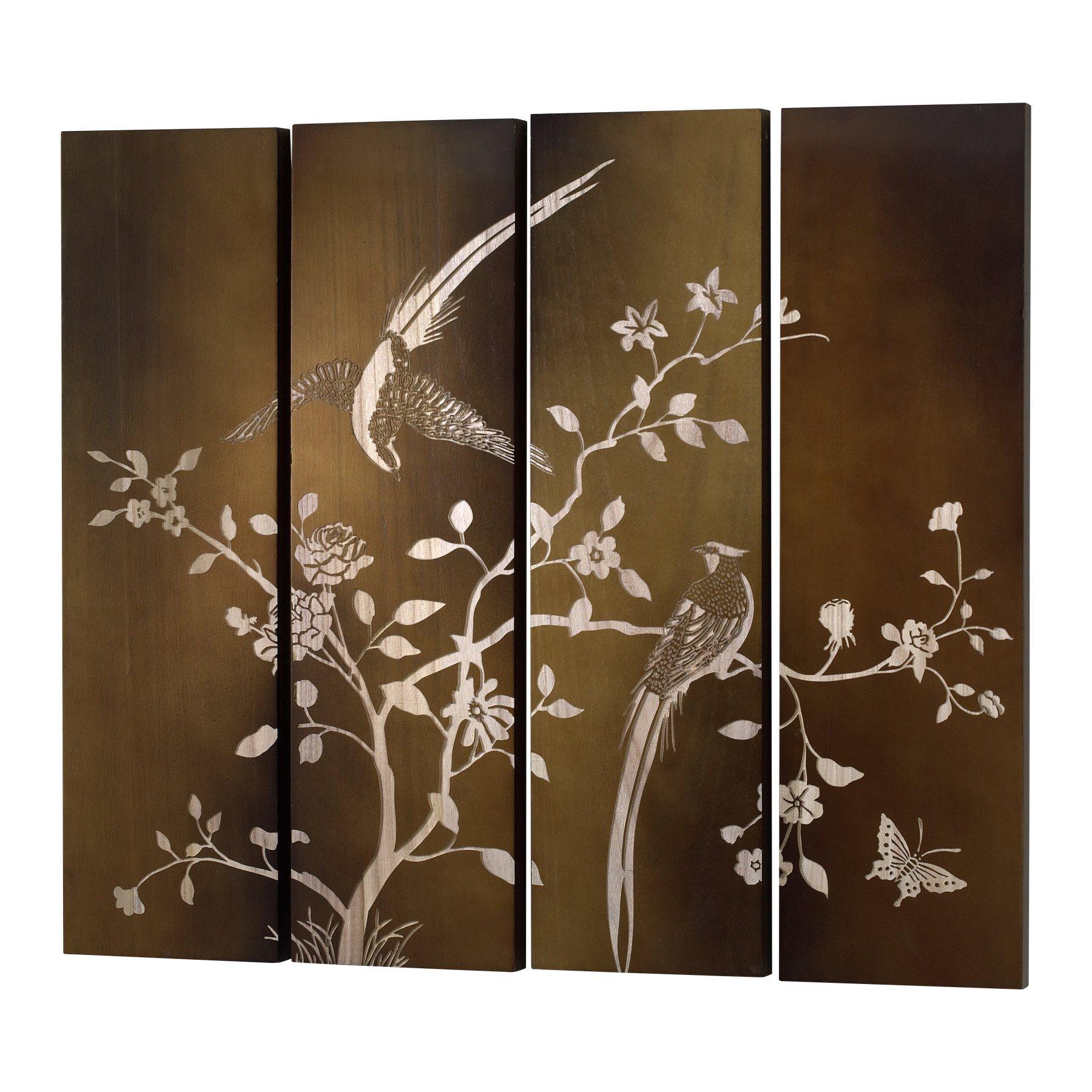 Bird panels wall decor : Cyan design spring bird panels wall art pack of