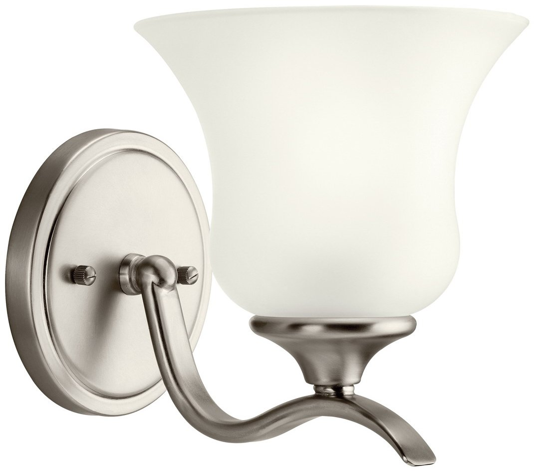 Efficient Lighting Interior Wall Sconce Lighting Fixture With Built In Switch : Kichler Lighting 10636NI Wedgeport Energy Efficient Transitional Wall Sconce KCH-10636-NI