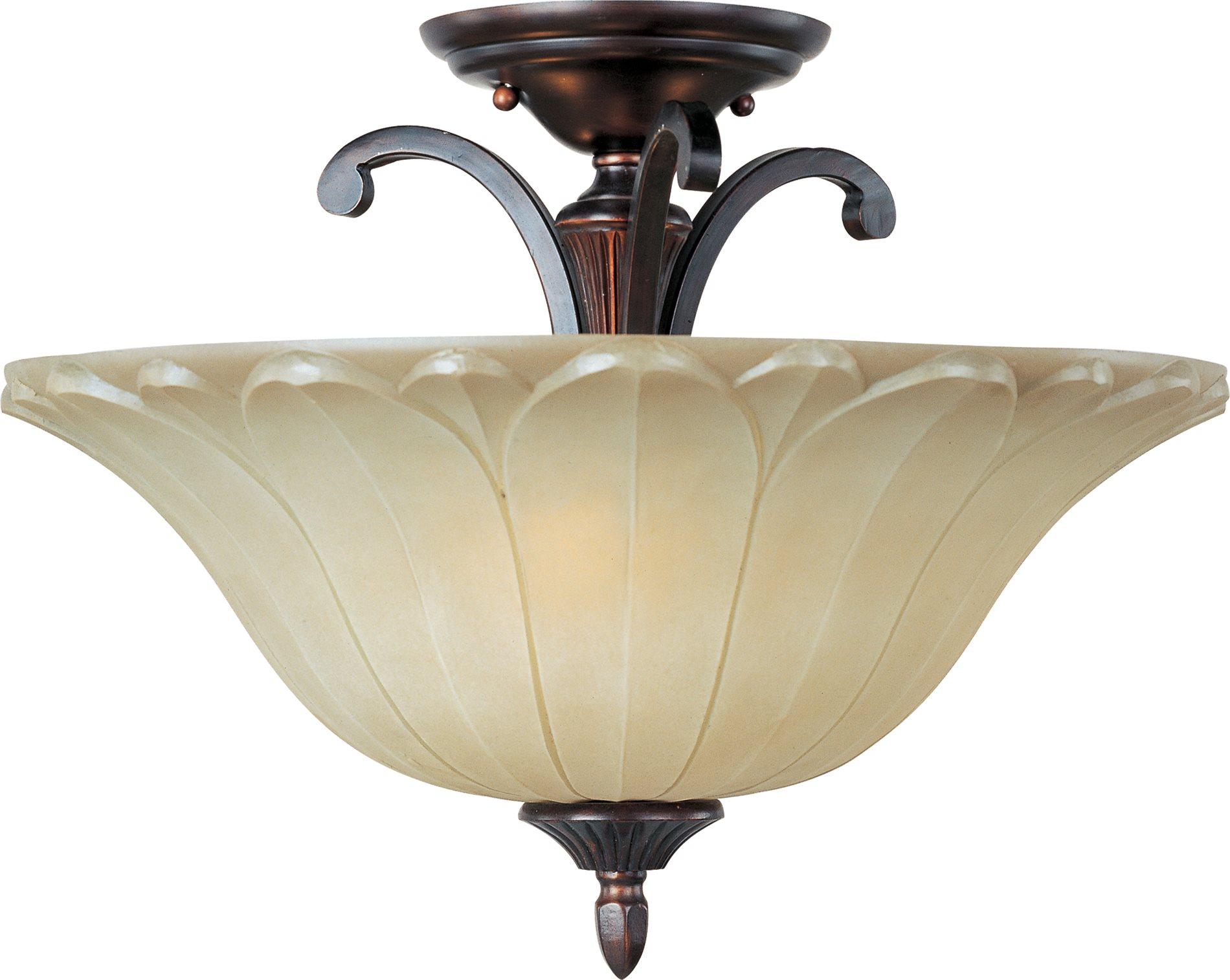 Semi Flush Ceiling Lights Glass Brass Fixture Bathroom: Maxim Lighting 13501WSOI Allentown Traditional Semi Flush