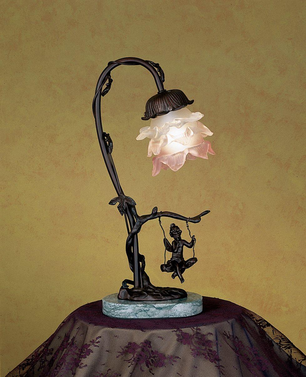 Meyda Tiffany 17855 Cherub On Swing With Pink White Glass