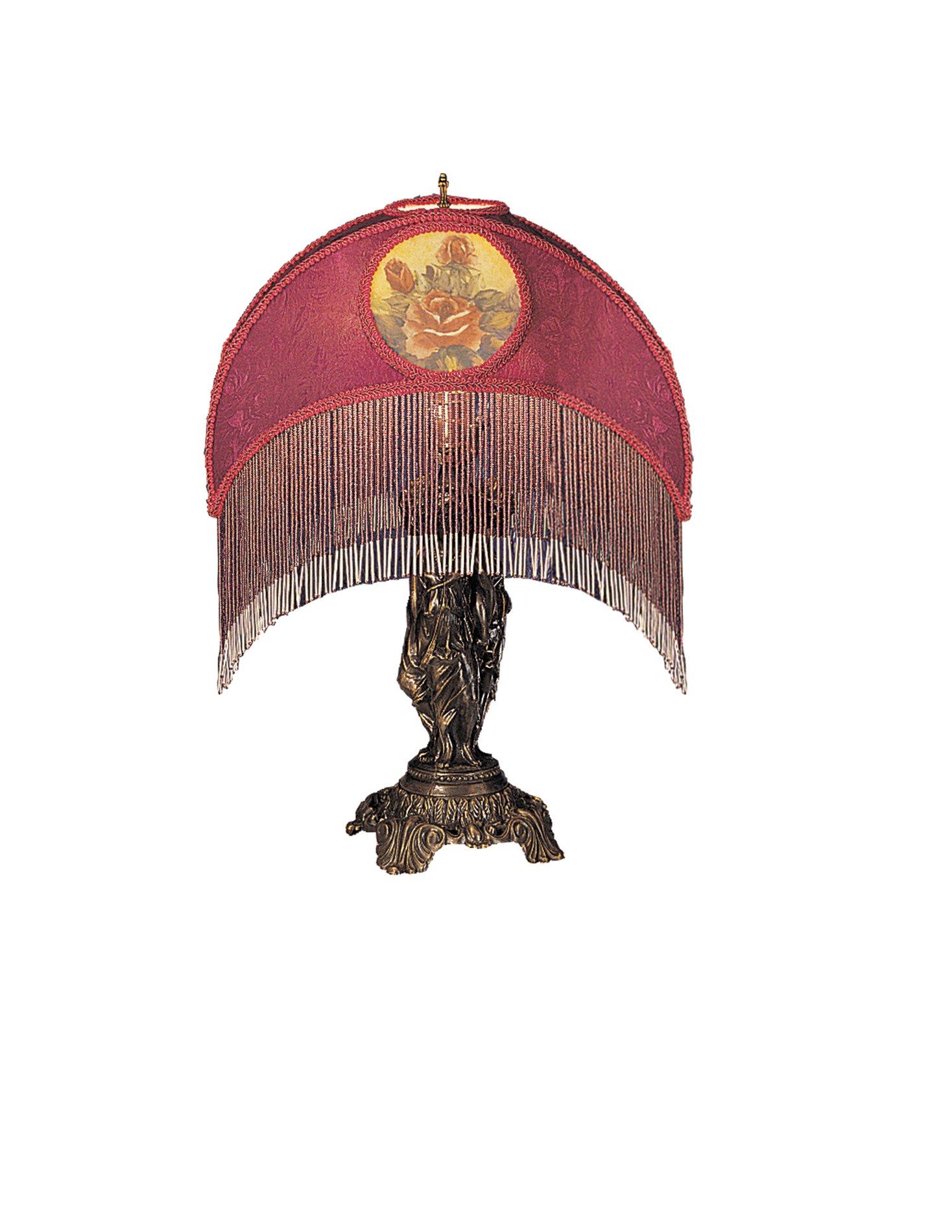 Meyda tiffany 18911 grace table lamp with purple fabric for Purple beaded lamp shade