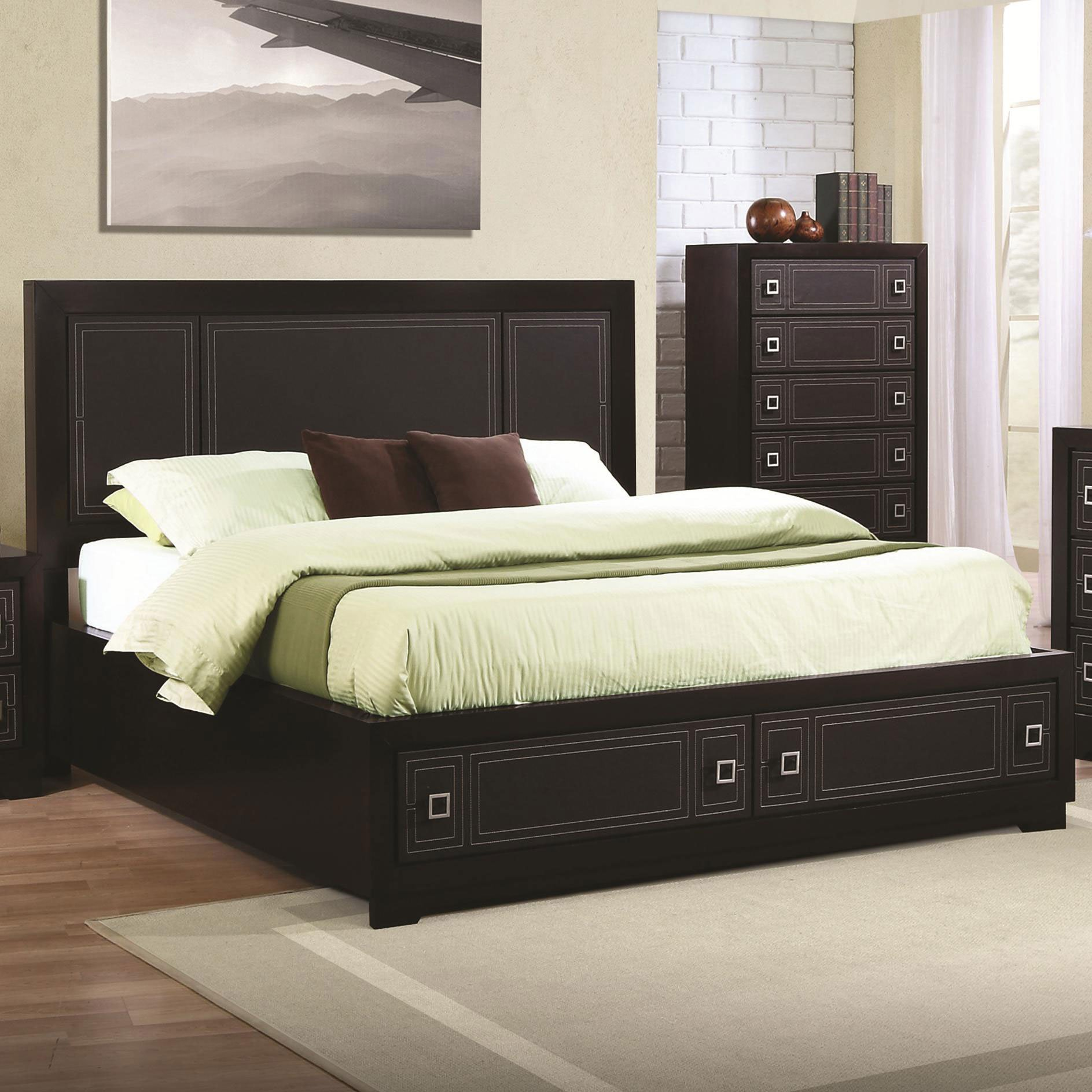 Coaster home 200661kw elijah california king bed with leatherette panel headboard and footboard - Cal king bed with drawers ...