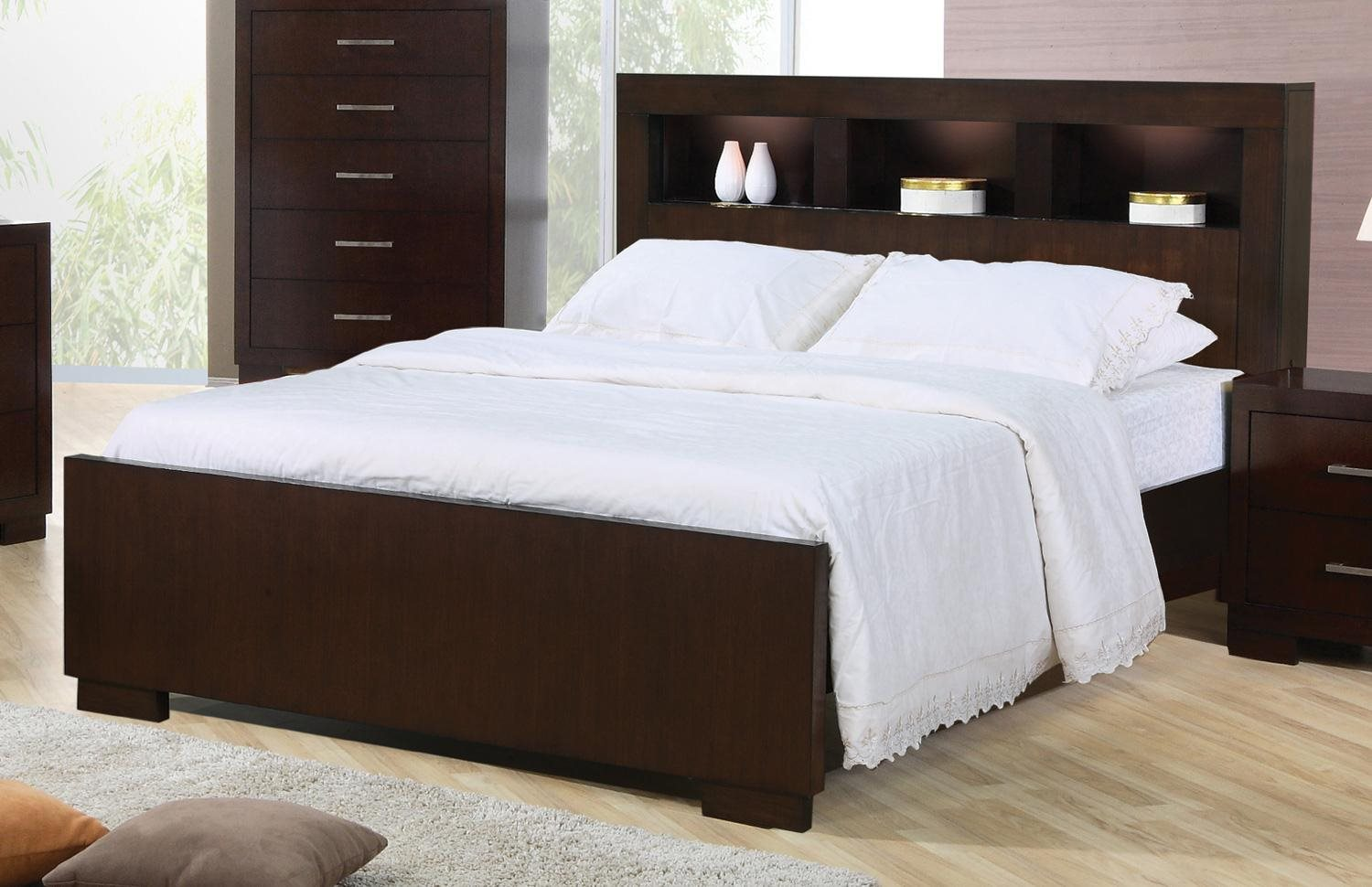 Coaster home 200719kw jessica california king contemporary - Modern queen bed with storage ...
