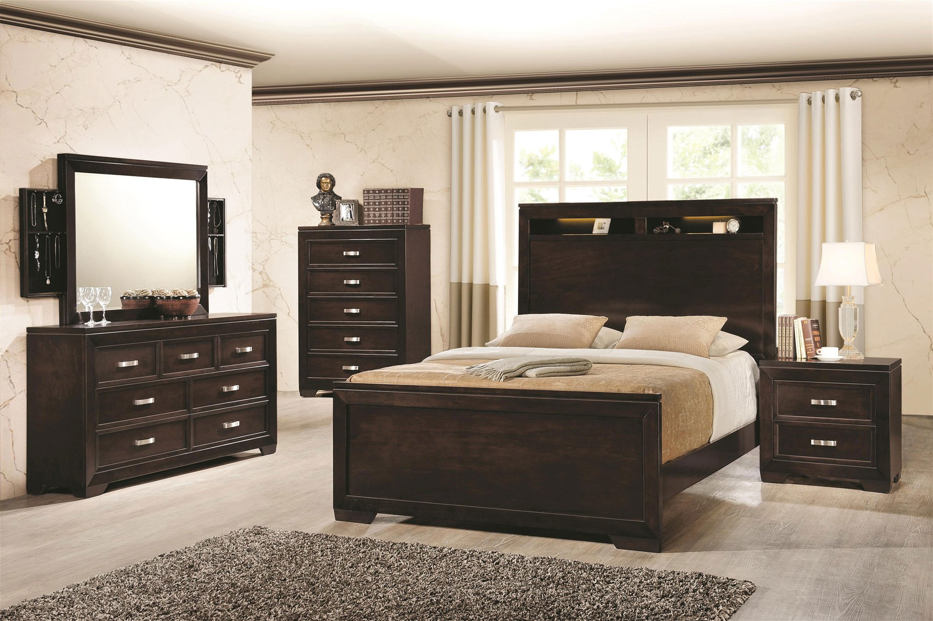 203711q solano queen bed with lighted headboard storage coah 203711q. Black Bedroom Furniture Sets. Home Design Ideas