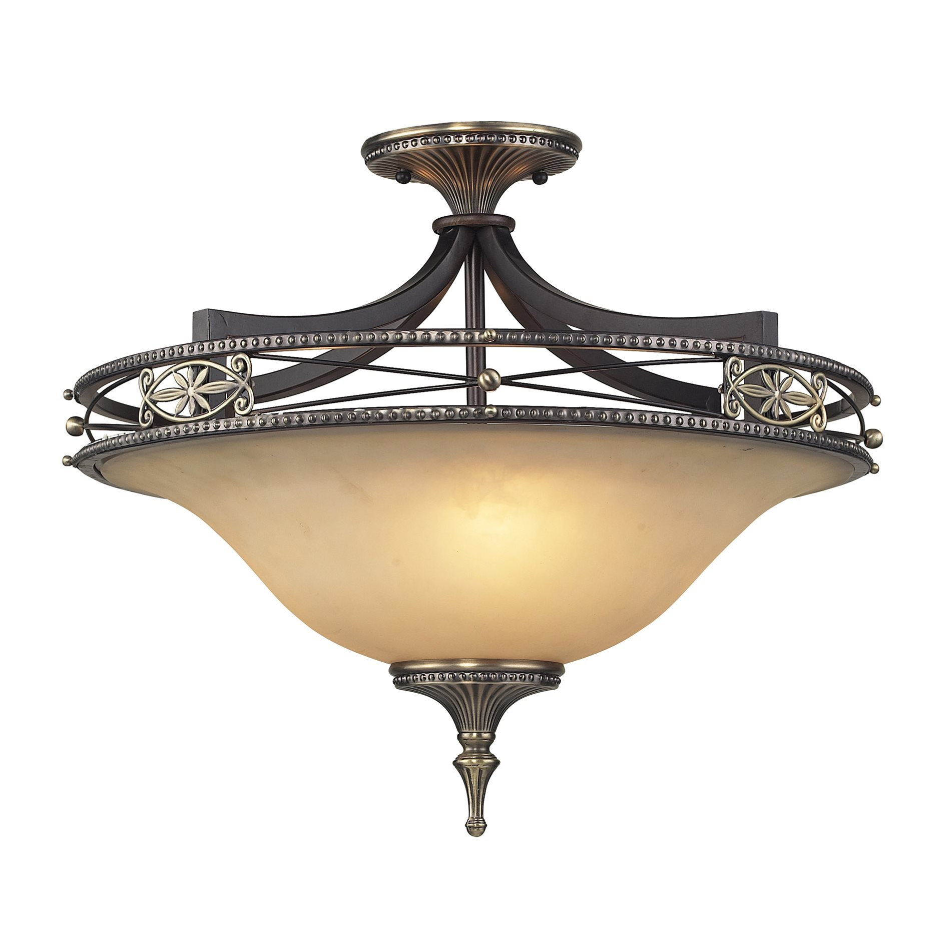 Elk Lighting Fans: Elk Lighting 2425/3 Georgian Court Traditional Semi Flush