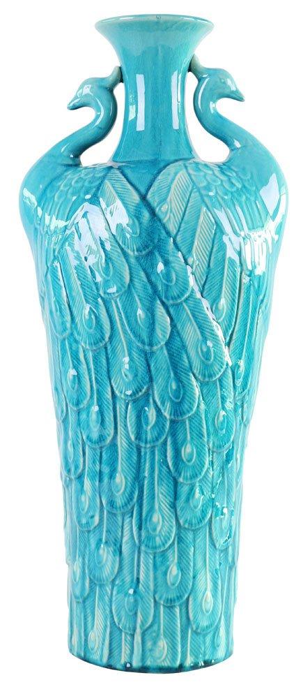 howard elliott turquoise blue peacock vase