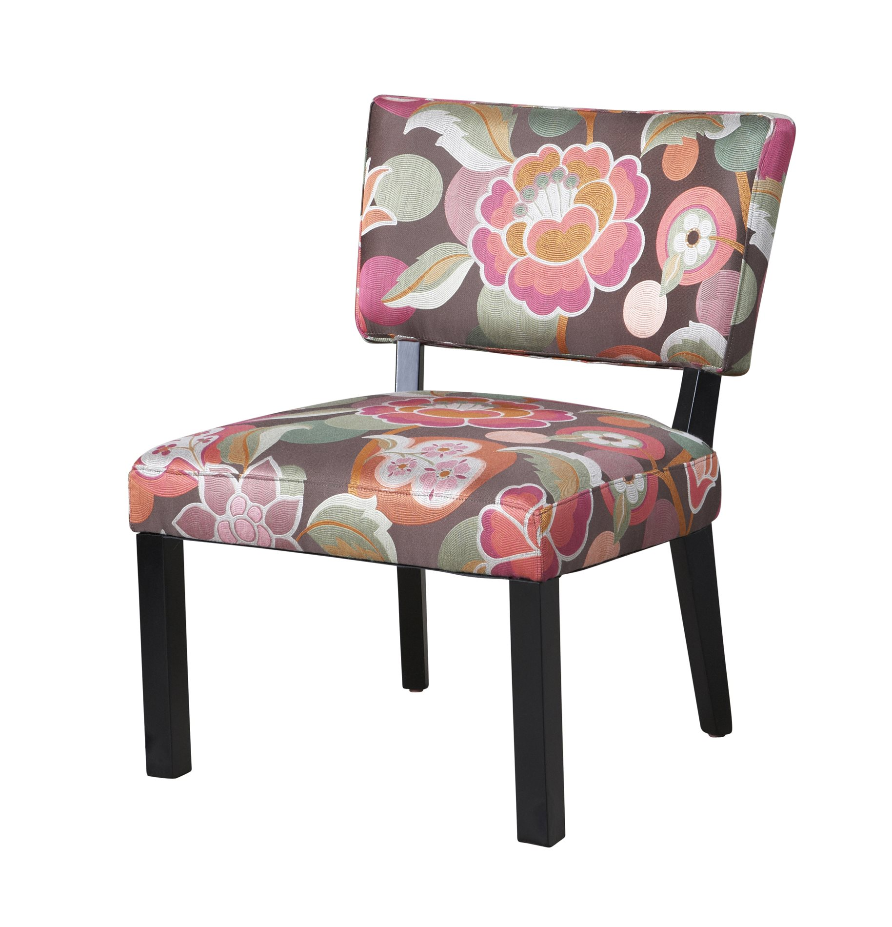 Powell 383 560 Pink Brown Floral Accent Chair Pwl 383 560