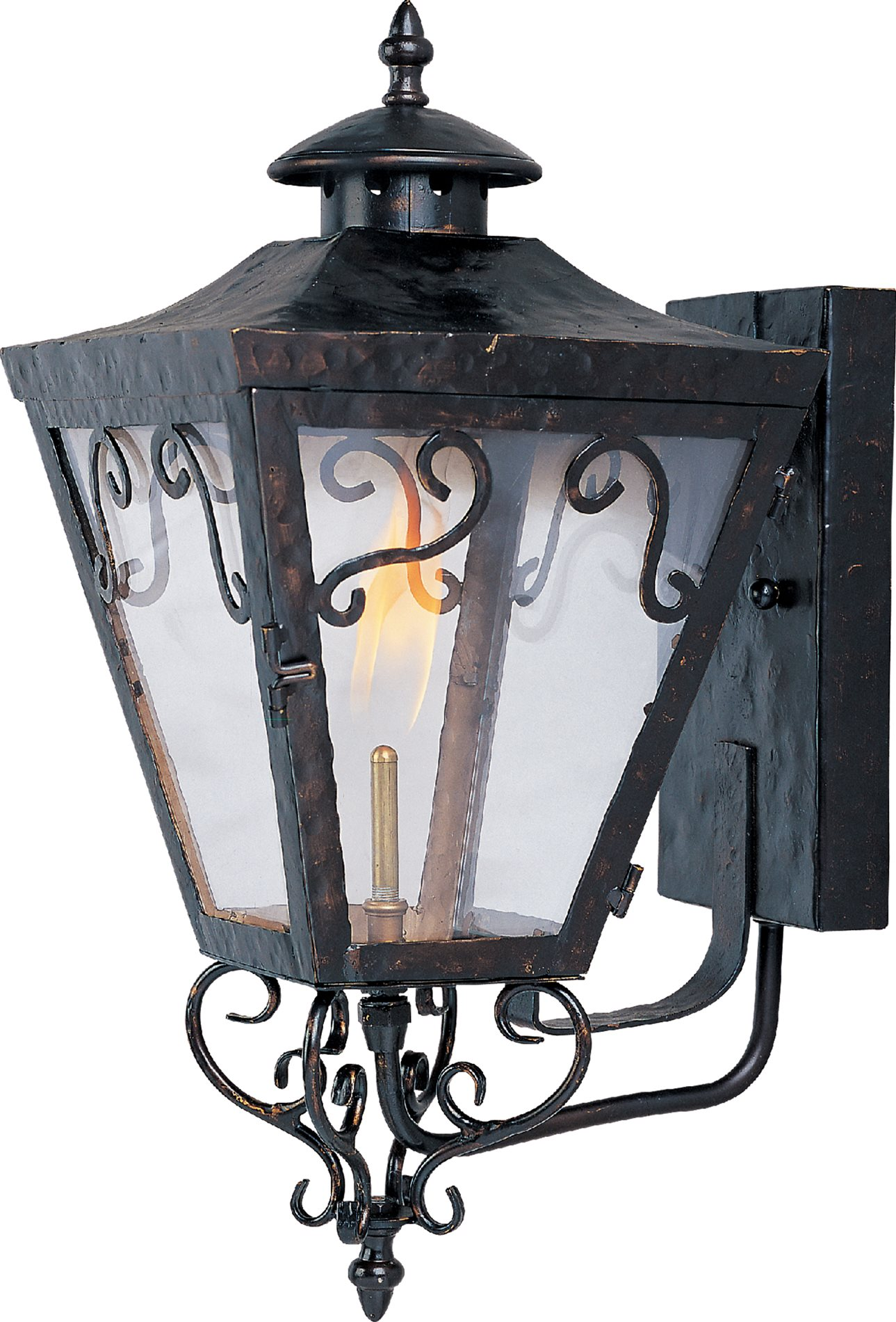 Outdoor Gas Wall Lamps : Maxim Lighting 39992CLOI Cordoba Forged Iron Traditional Outdoor Gas Lantern MX-39992-CL-OI