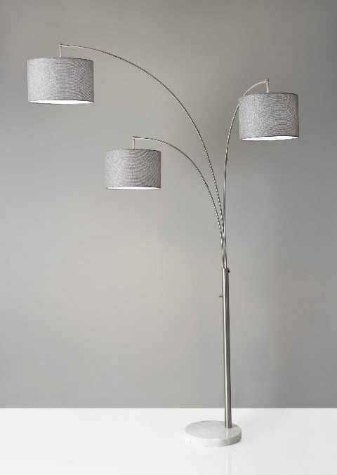 Adesso bowery 3 arm modern contemporary arc floor lamp ad 4250 22 see details