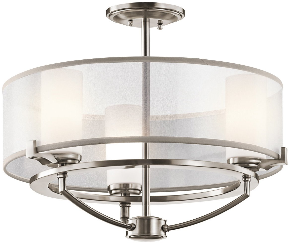 Kichler lighting 42923clp saldana modern contemporary for Semi flush mount lighting modern