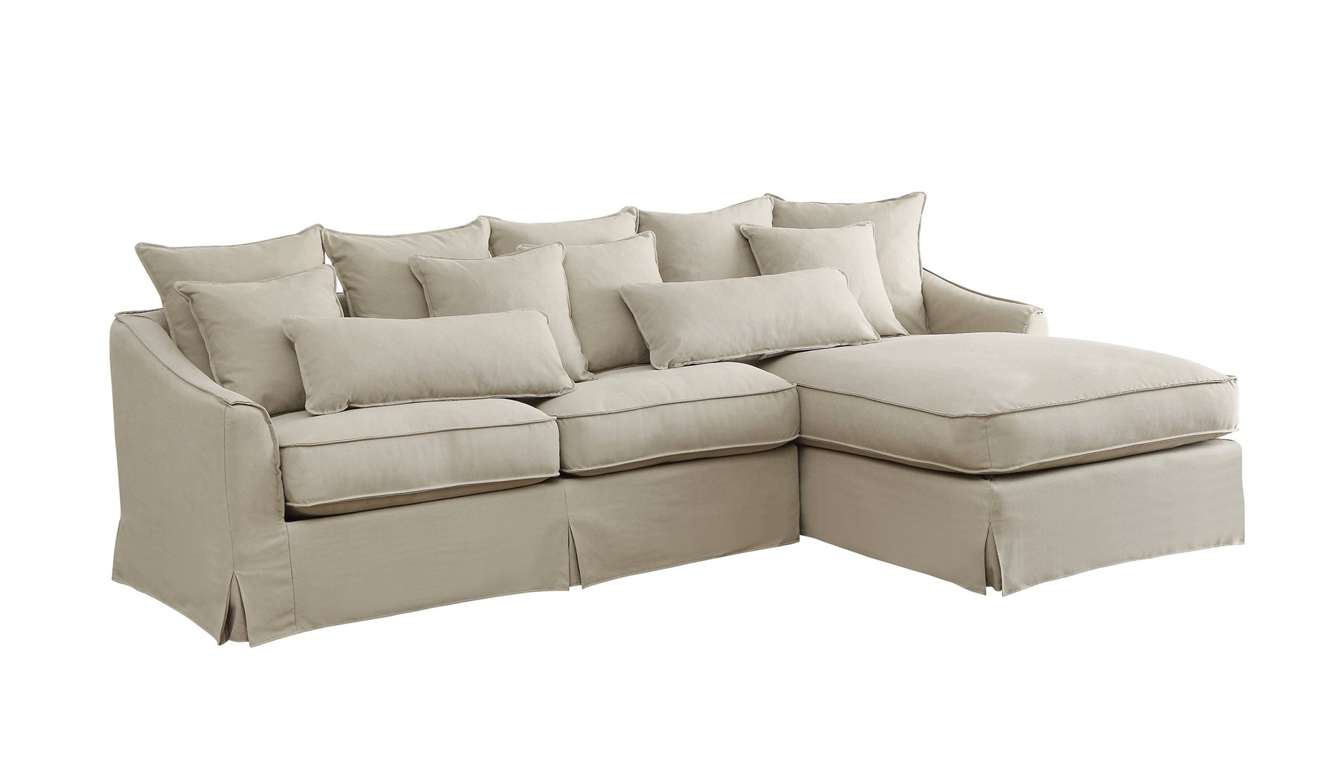 Coaster home 500180 knottley slipcovered sectional sofa for Nottley slipcovered sectional sofa with chaise and feather blend cushions