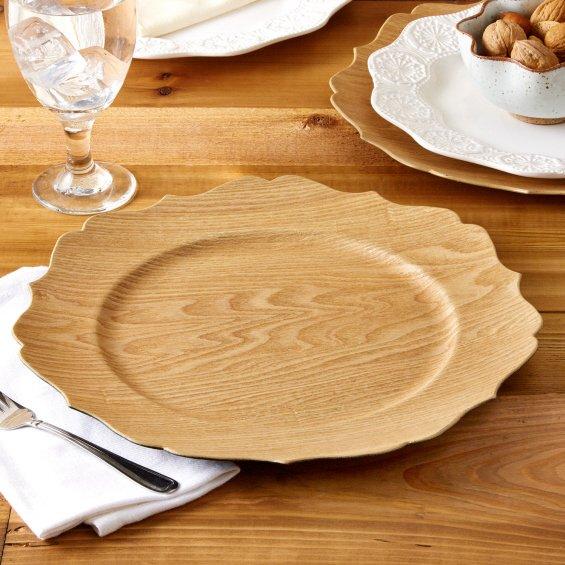Zoom & Twos Company 50328 Good Wood Scalloped Oak Veneer Charger Plate ...