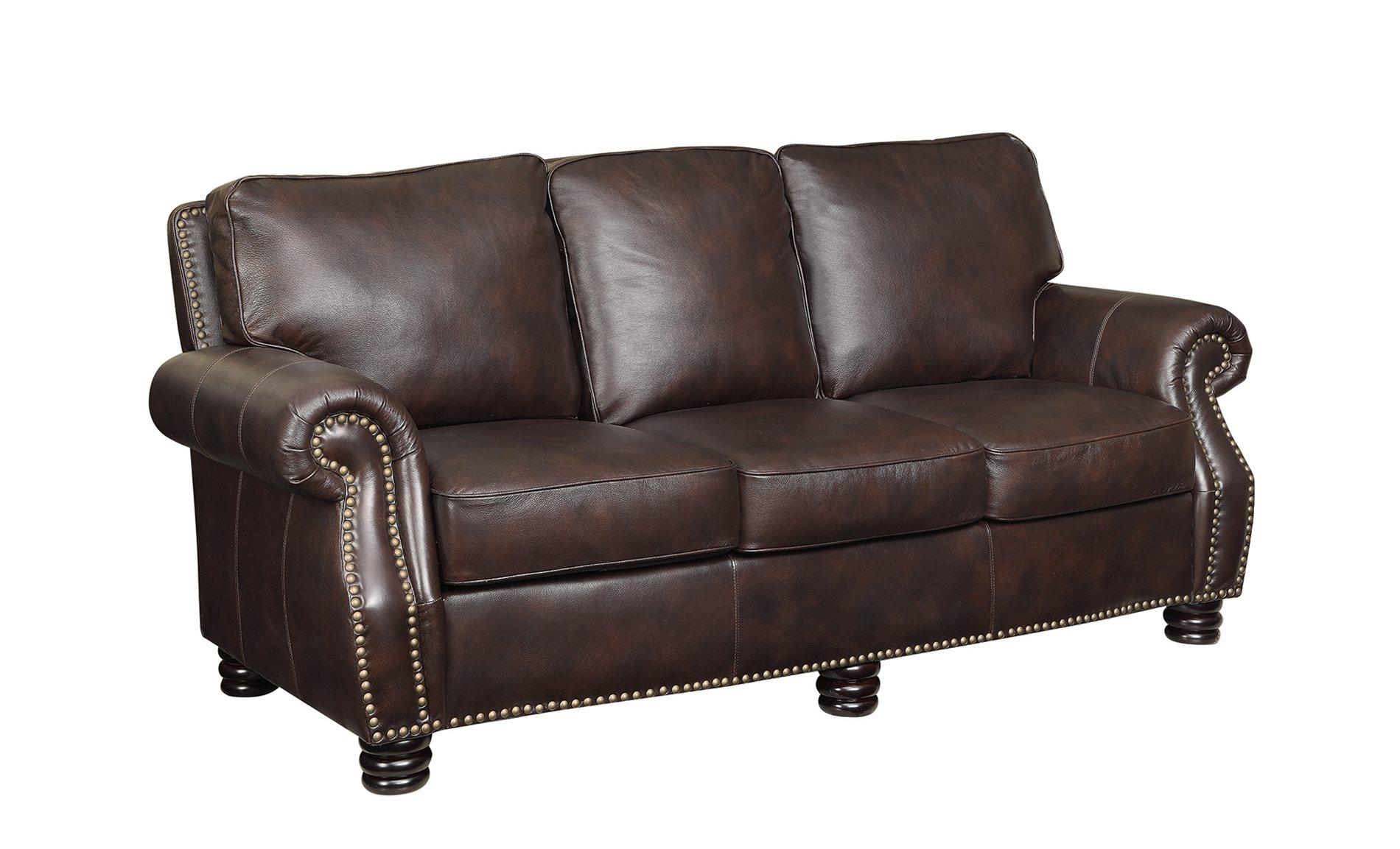 Coaster home 504961 crawford traditional leather sofa with for Sofa with studs