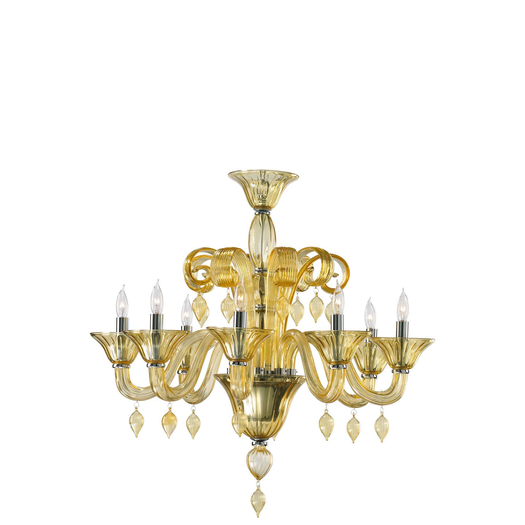 Clearance Chandeliers: [Clearance] Treviso Amber Murano Style Glass 8-Light