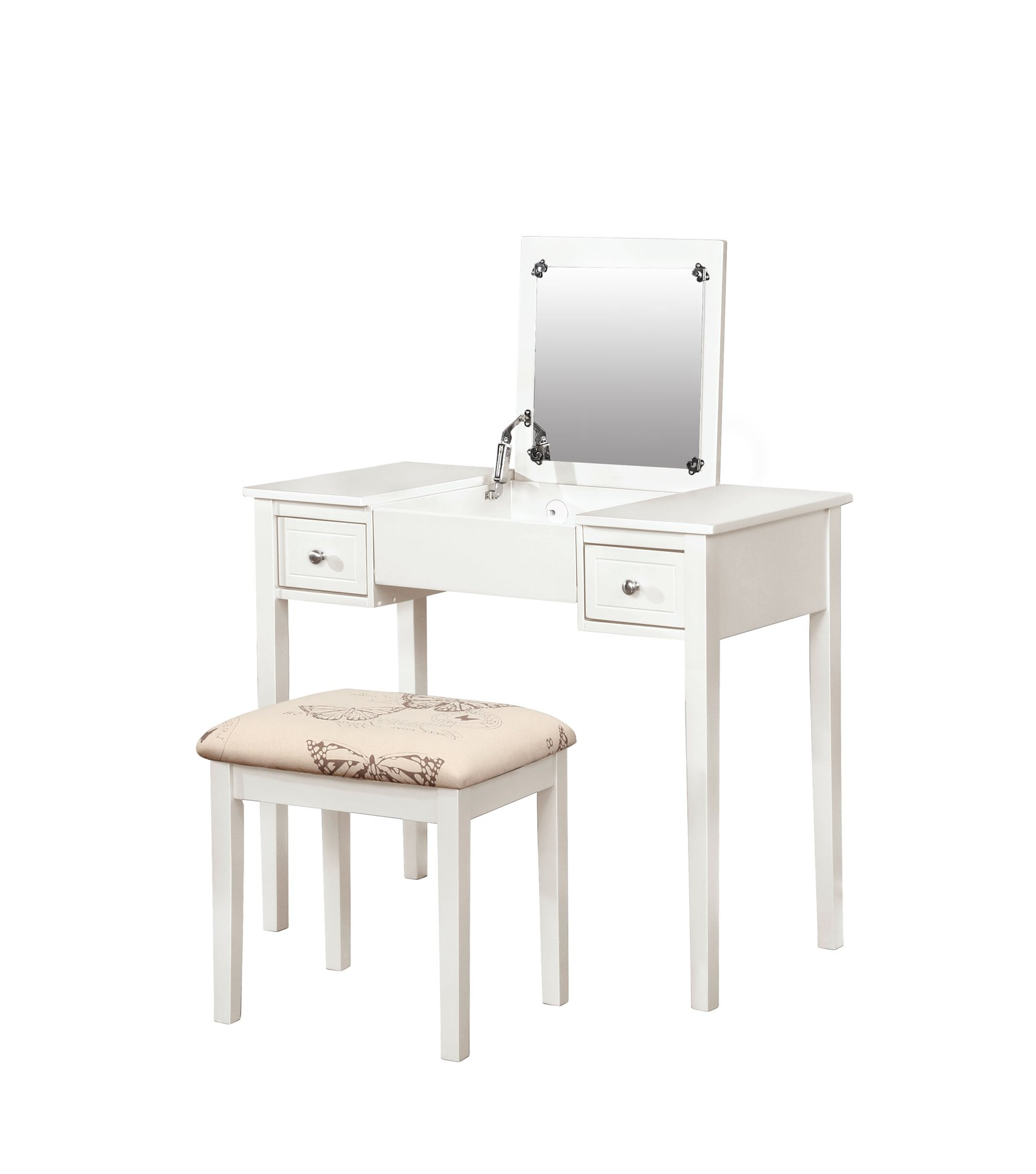 Linon Home Decor 98135WHTX-01-KD-U VANITY SET WHITE