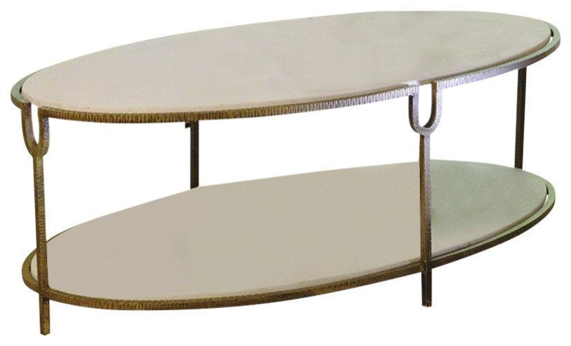 Global Views Iron And Stone Oval Traditional Coffee Table Glv 9 91786