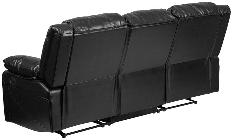 Flash furniture bt 70597 sof gg harmony contemporary black for Modern black leather sectional sofa with built in light