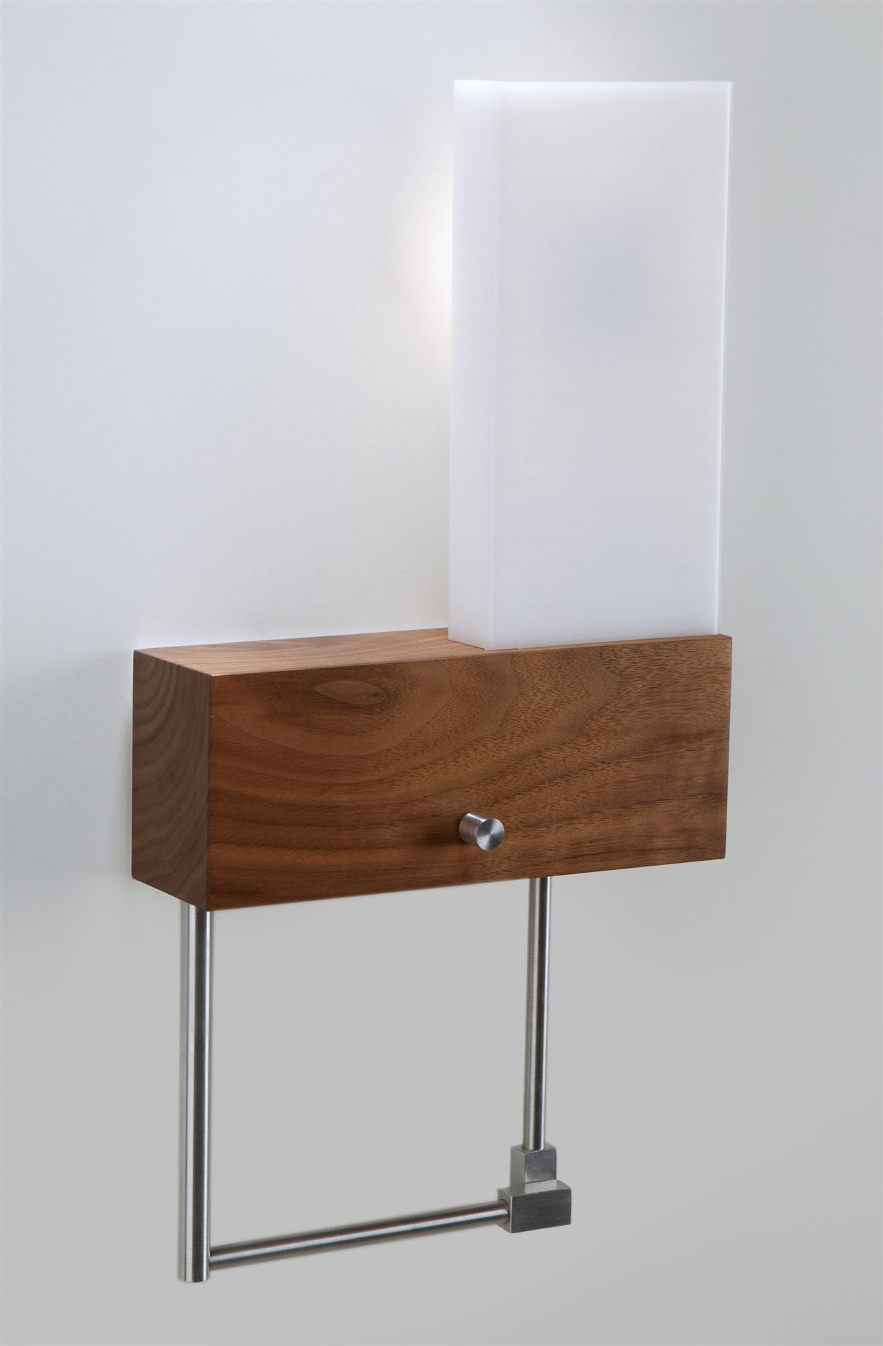 Wall Sconce With Led Reading Light : Cubo LED Contemporary Wall Sconce / Reading Light - Hardwired (Right) - XREC-HR-011-30