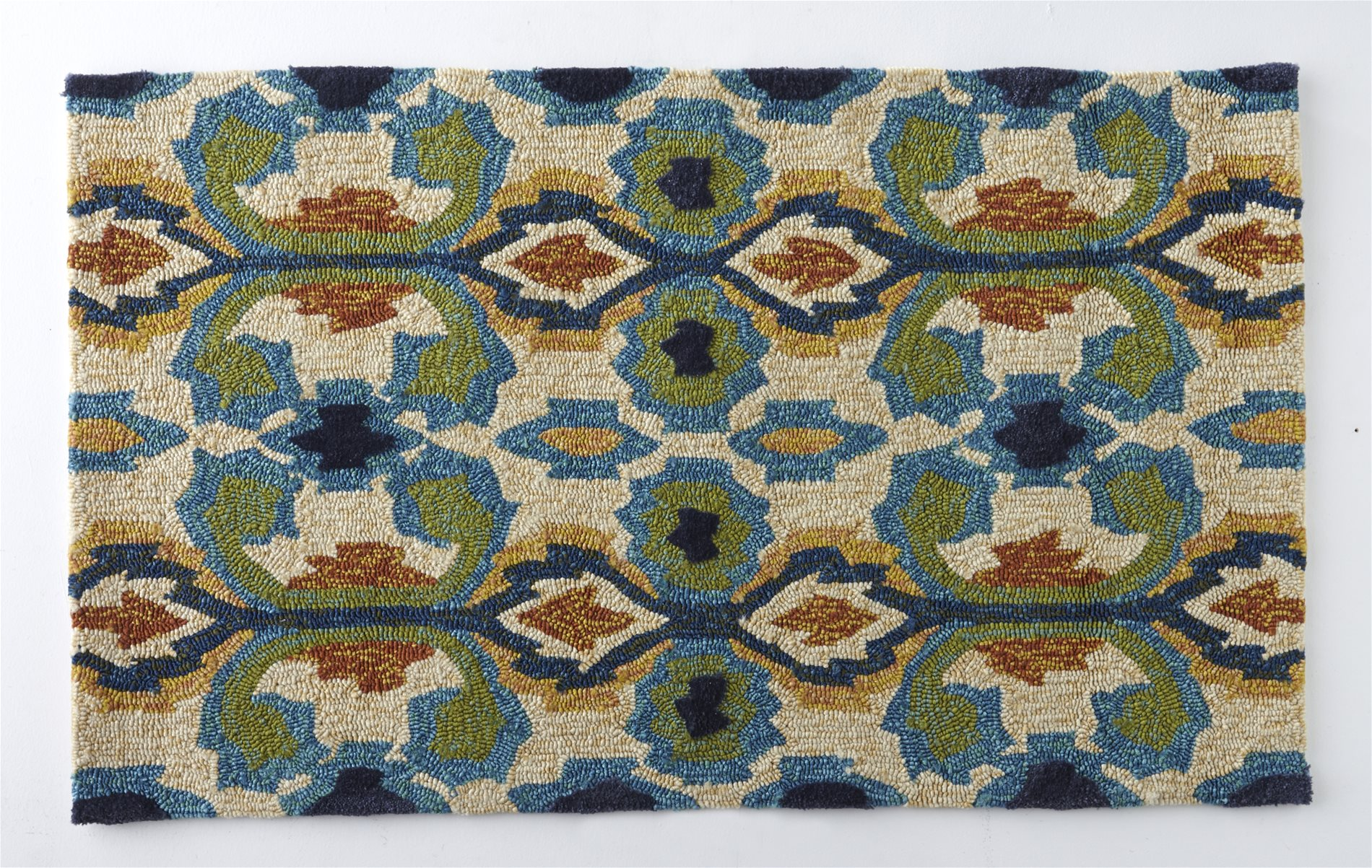 [Clearance] Kosovo Ivory Blue Outdoor Hand Hooked Rug