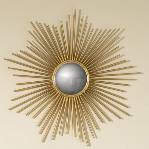 Global Views Sunburst Mirror Nickel: Global Views 9.90663 Mini Sunburst Gold Contemporary