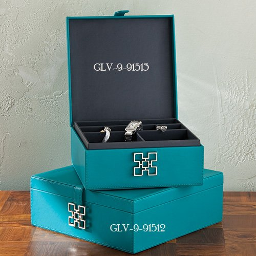 Global Views Box: Global Views 9.91513 Aarhus Turquoise Transitional Box