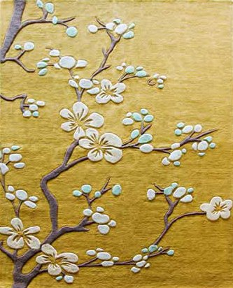 Yellow flower rug area rug ideas global views rug cherry blossom transitional hand mightylinksfo