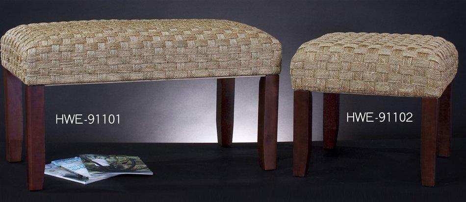 Zoom - Howard Elliott 91101 Seagrass Bench With Wooden Legs HWE-91101