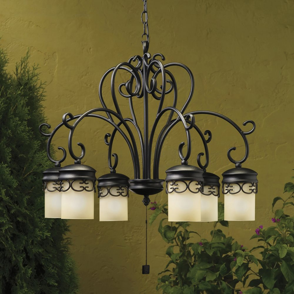 Low Voltage Outdoor Chandelier: Kichler Lighting 15408BKT Almeria Low Voltage Outdoor