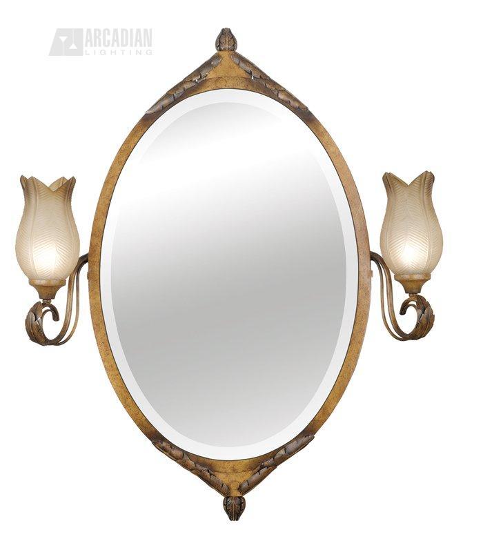 kenroy 91440 lat st lucia 2 light vanity oval mirror kr 91440 lat. Black Bedroom Furniture Sets. Home Design Ideas