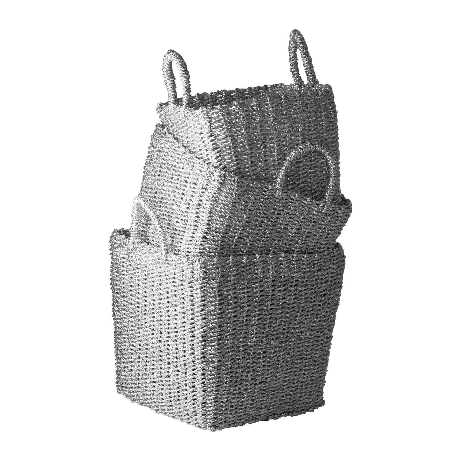 Lazy Susan S/3 Nested Recycled Twisted Silver Foil Baskets X-810487 at Sears.com