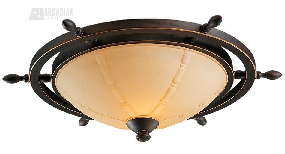 Monte Carlo Fan MC204 Roman Bronze Ship Wheel Ceiling Fan Light Kit ...