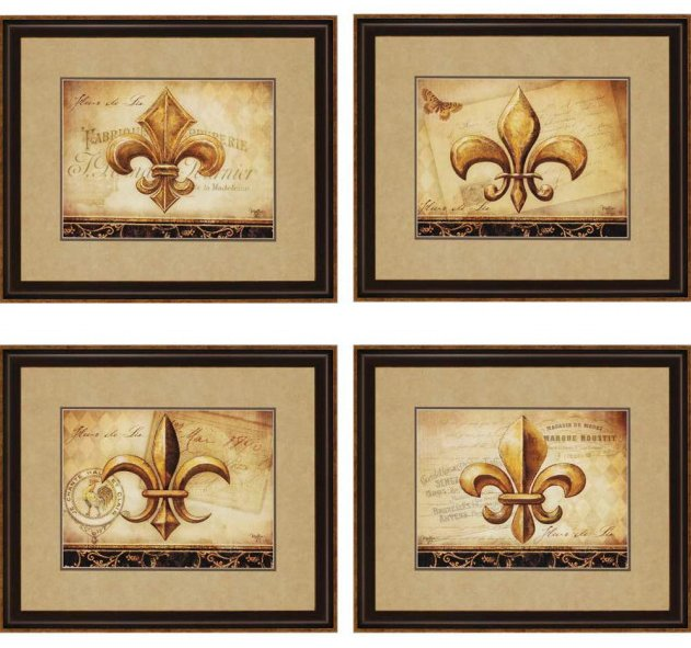 Malanta Knowles 3425 Fleur De Lis Traditional Framed Wall