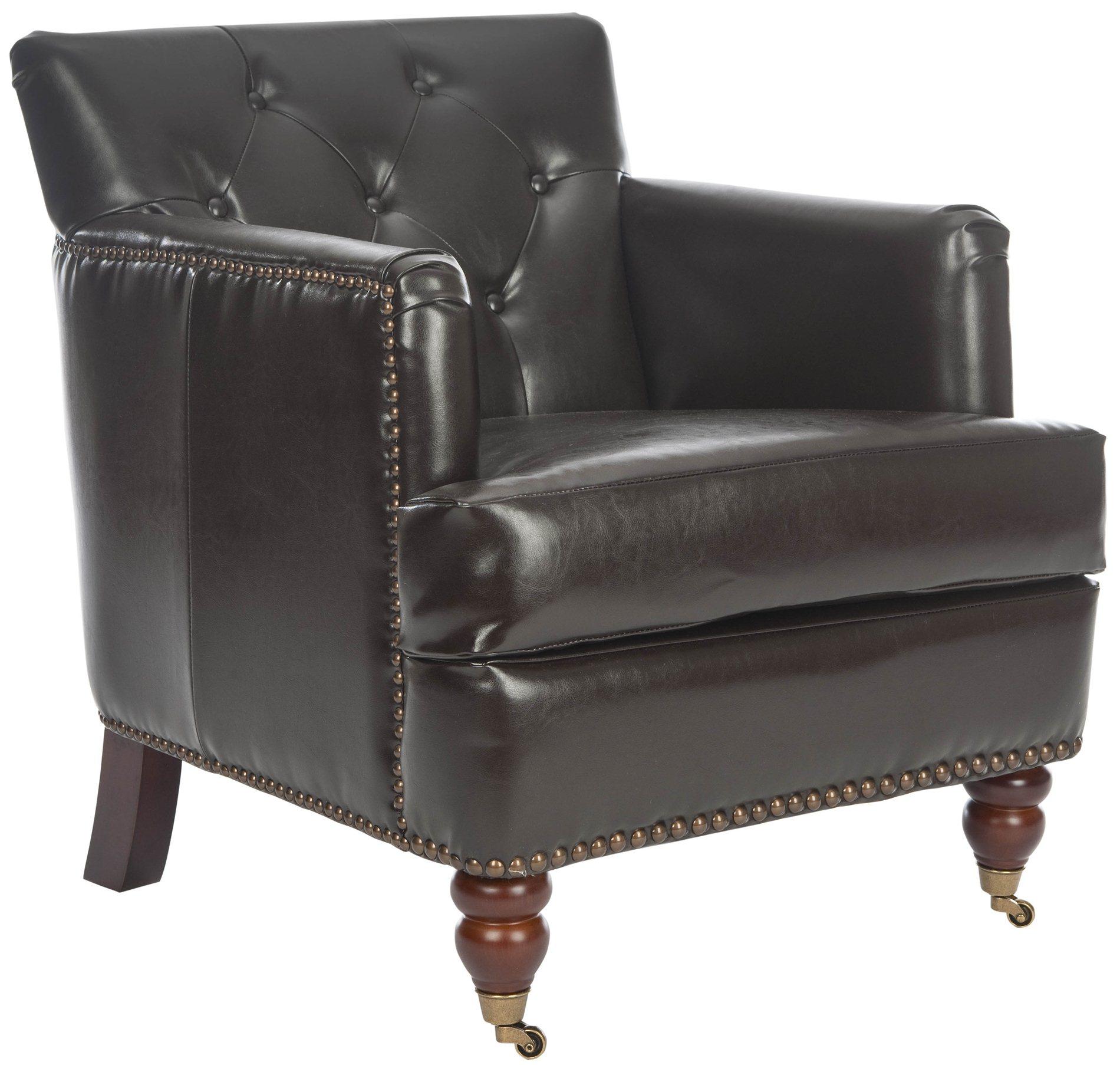 safavieh hud8212c colin leather tufted club chair sfv hud8212c. Black Bedroom Furniture Sets. Home Design Ideas