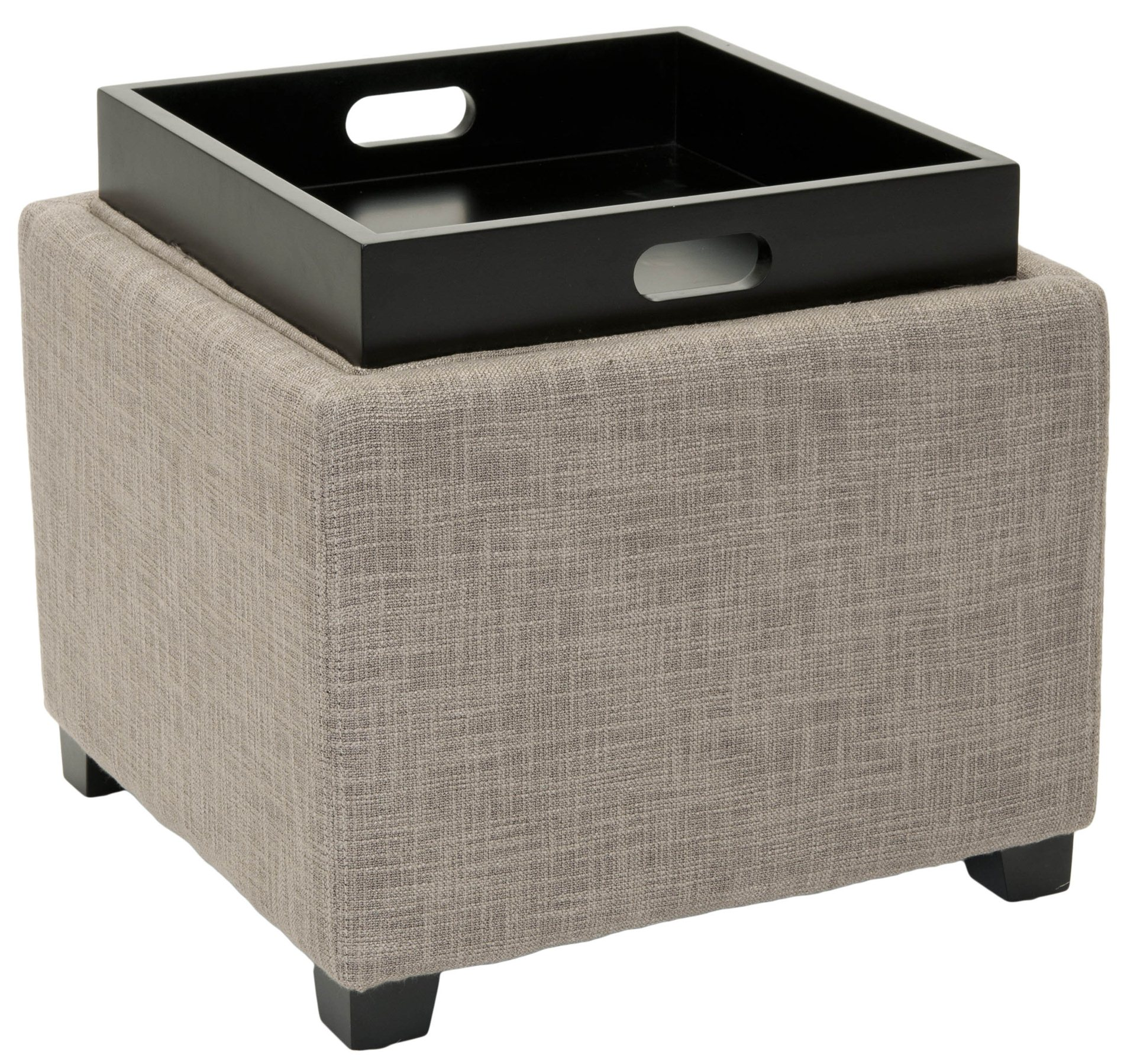 Ottomans Lifestyle Single Ottoman: Safavieh HUD8233D Harrison Single Tray Ottoman SFV-HUD8233D