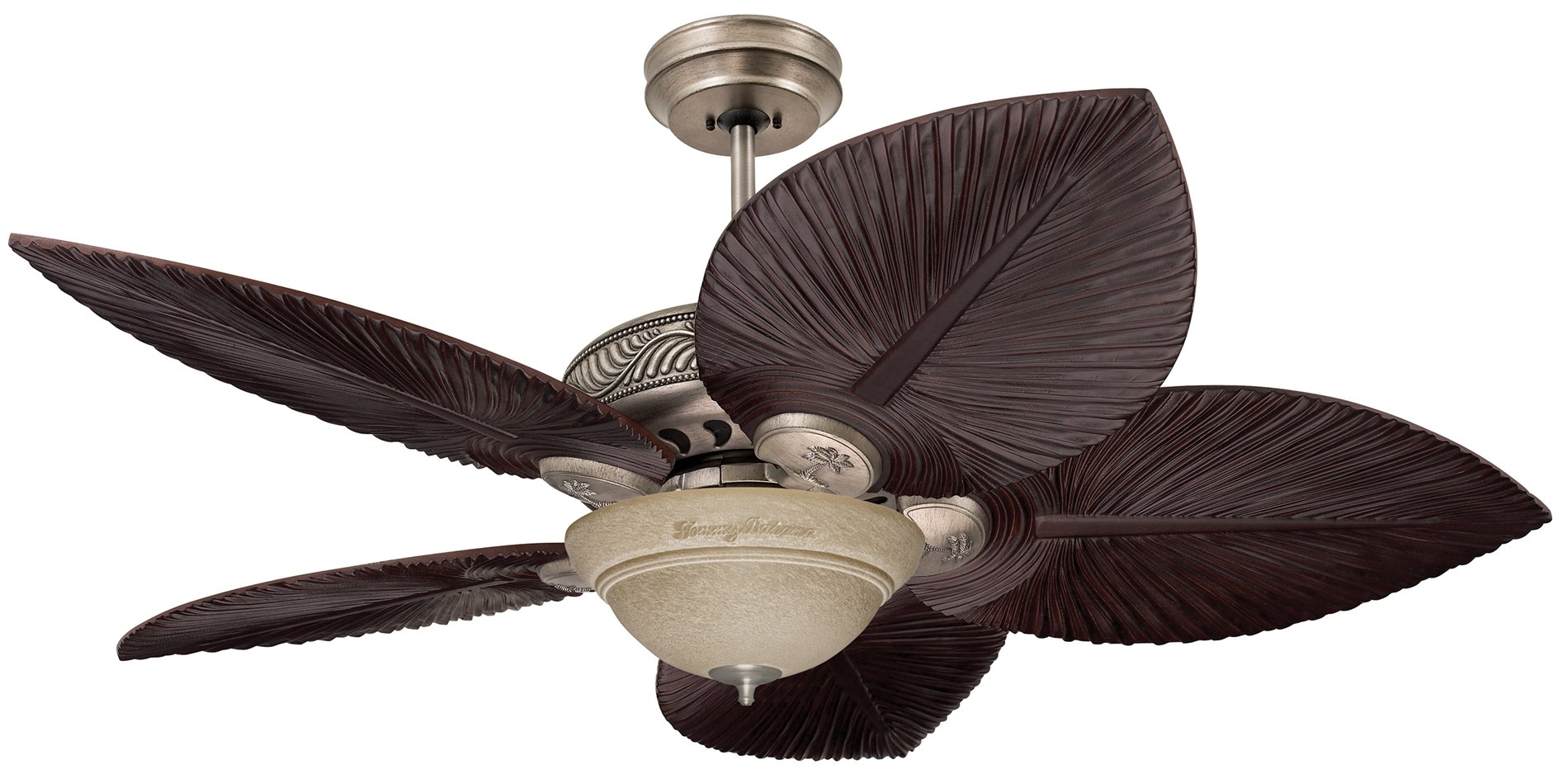 Antique Pewter Housing Shown With Hand Carved Dark Gany Blades Tb540dm Trella Amber Mist Light Fixture Tb735amm Sold Separately