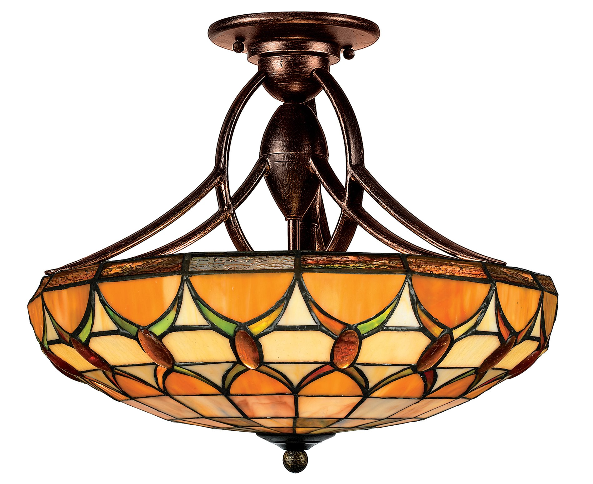 Quoizel Tf1041ep Veranda Traditional Tiffany Semi Flush