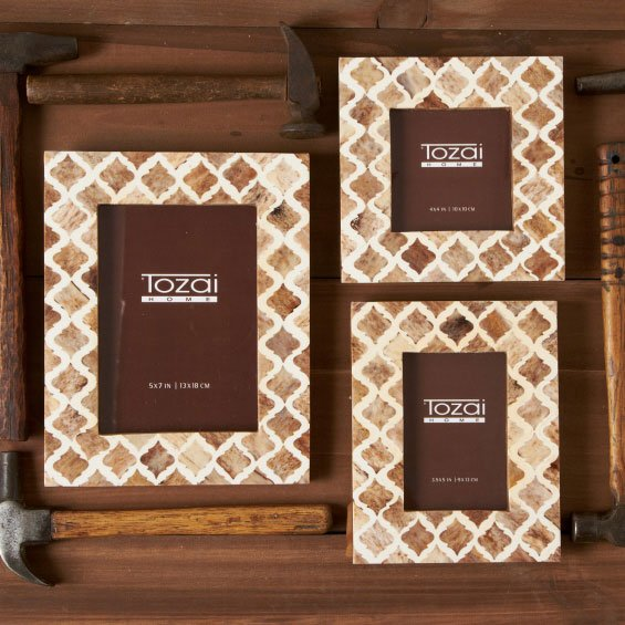 Tozai Home AEI214-S3 Naturals Bone Mosaic Transitional Photo Frame ...