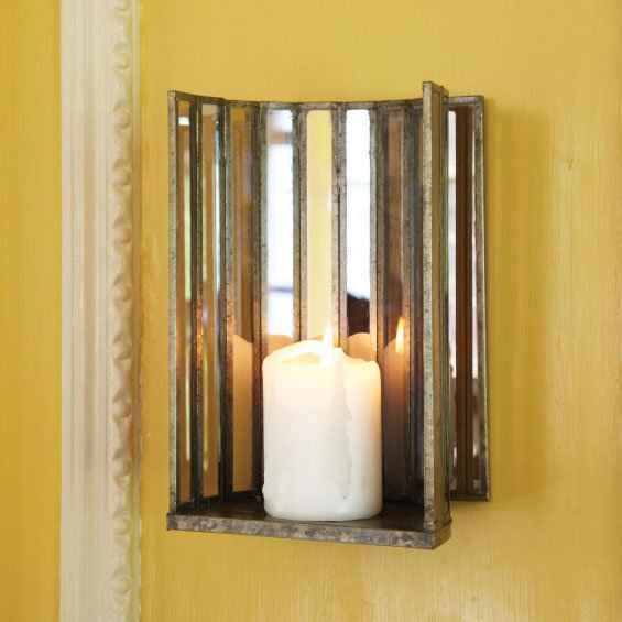 Tozai Home DR0503 Two-Way Mirror Glass Wall Sconce / Pillar Candle Holder TOZ-DR0503