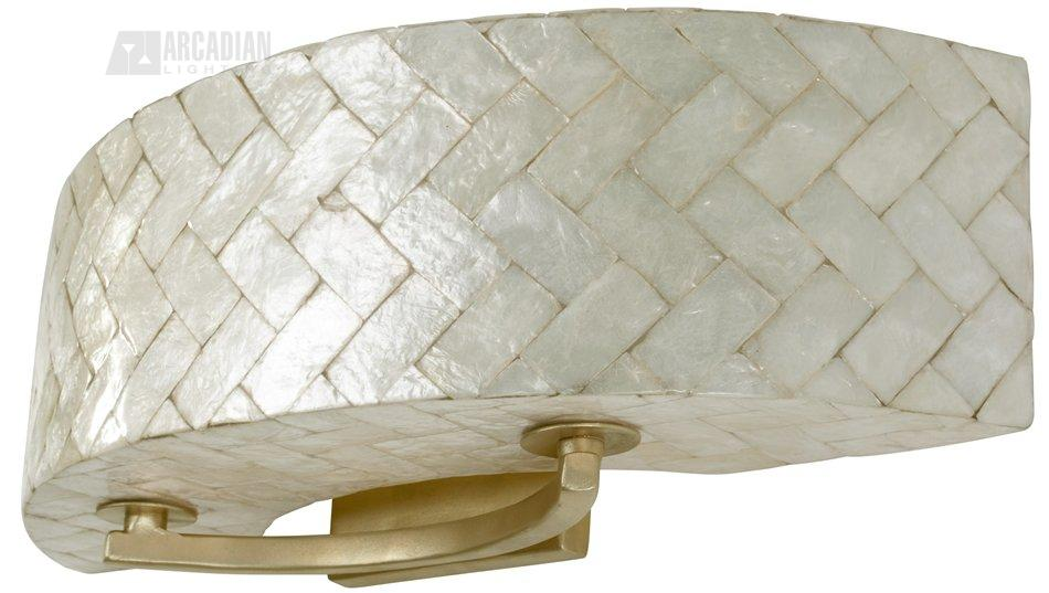 Sheaf Herringbone Natural Capiz Transitional Wall Sconce