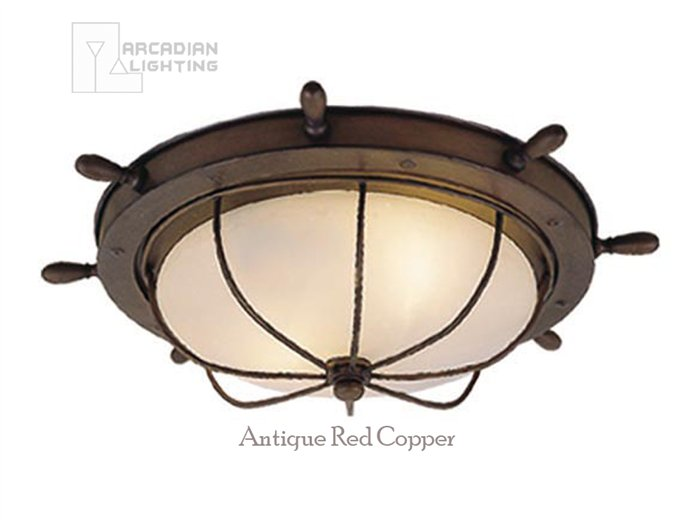 Vaxcel Lighting OF25515 Nautical Traditional Outdoor Flush Mount Ceiling Ligh