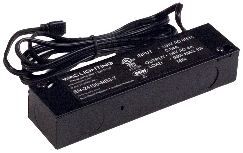 WAC Lighting EN-2460-P-AR-S 120V Input 24V Output 60W Plug-in Electronic Transformer for Line and Straight Edge Black